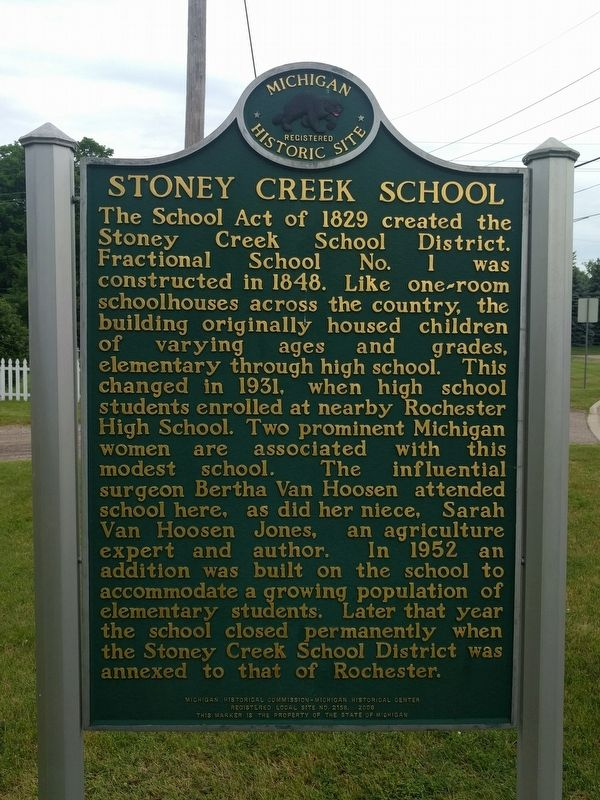 Stoney Creek School Marker image. Click for full size.