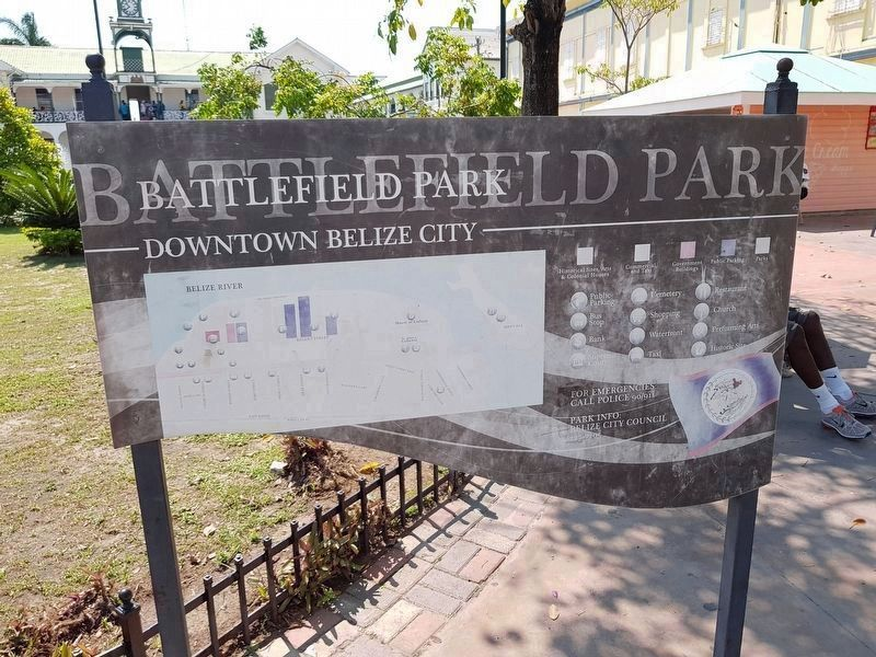 Battlefied Park sign, Downton Belize City image. Click for full size.