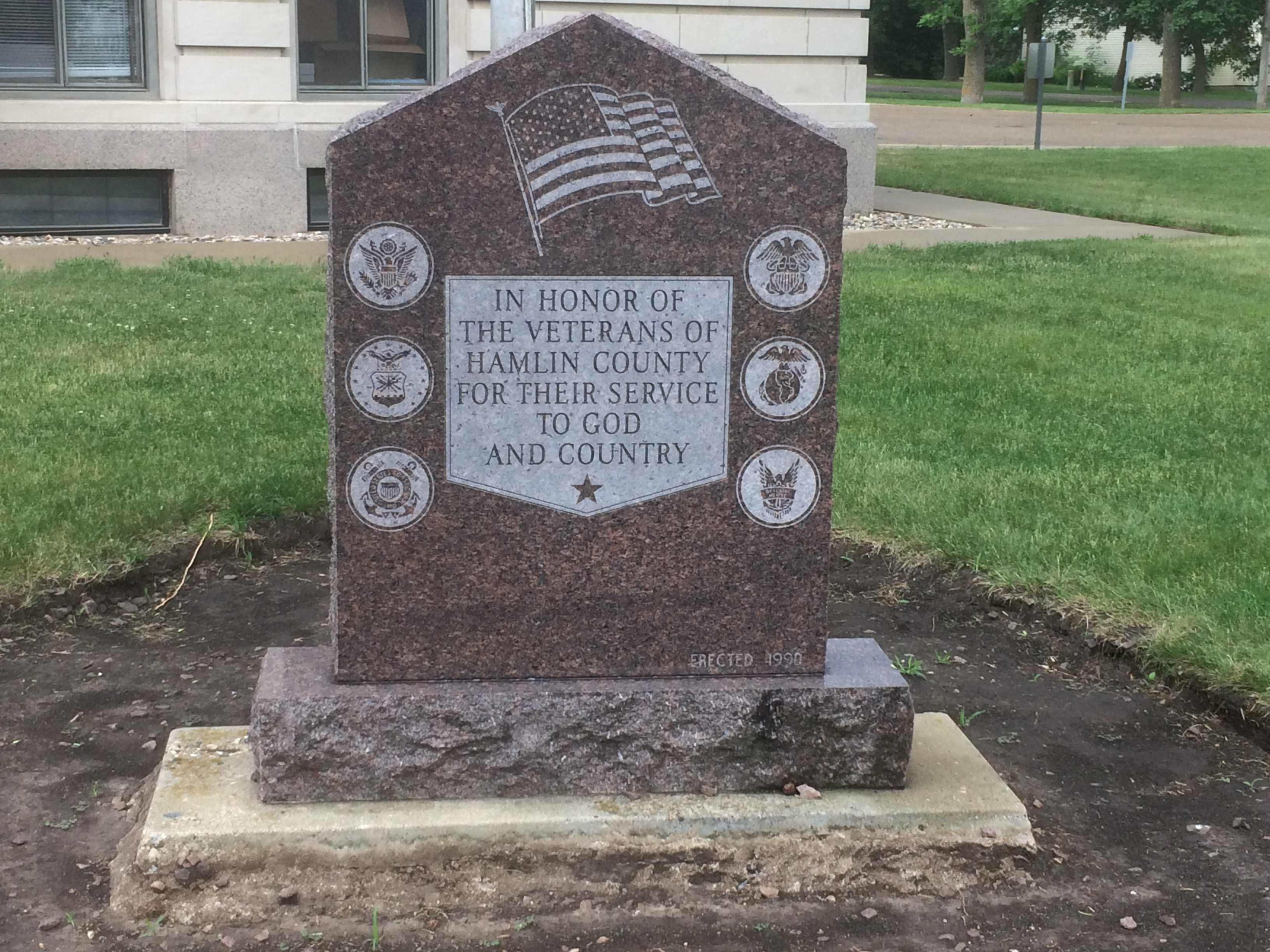 Hamlin County South Dakota Veterans Memorial Marker