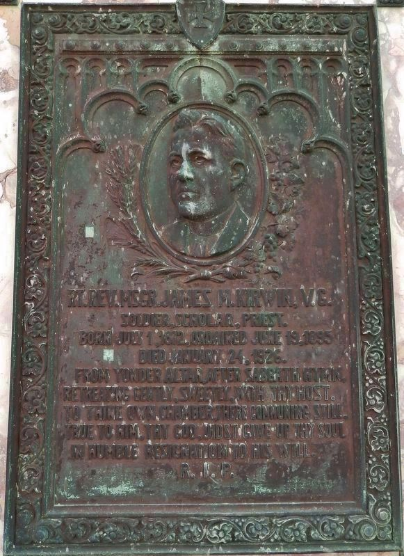 Rt. Rev. Monsignor James Martin Kirwin Memorial Plaque (<i>at nearby St. Mary&#39;s Cathedral</i>) image. Click for full size.
