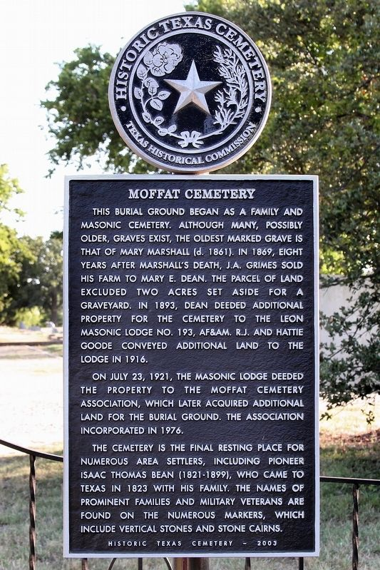 Moffat Cemetery Marker image. Click for full size.
