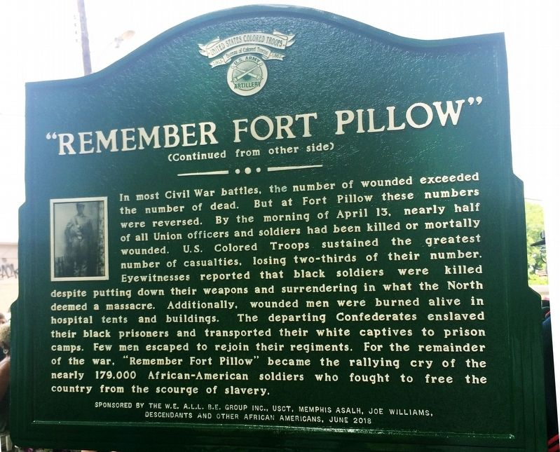 U.S. Colored Troops and the Battle of Fort Pillow Marker image. Click for full size.