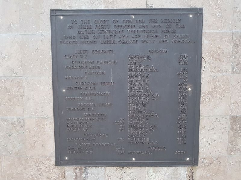 British Honduras Territorial Force Memorial Marker image. Click for full size.