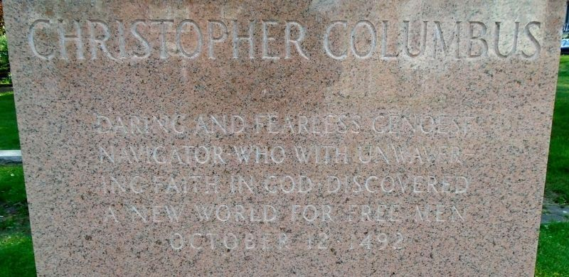 Christopher Columbus Monument Inscription image. Click for full size.