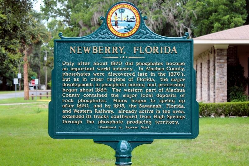 Newberry, Florida Marker Restored Side 1 image. Click for full size.