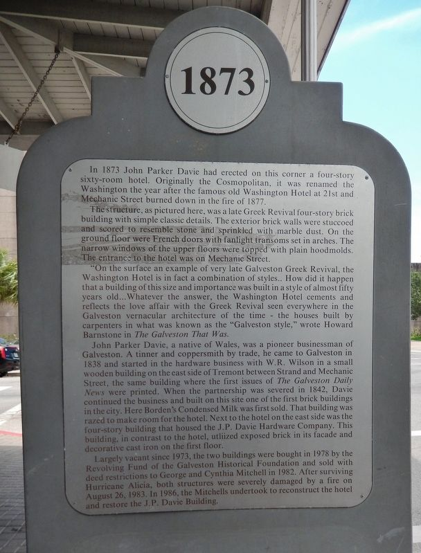 Washington Hotel Marker image. Click for full size.