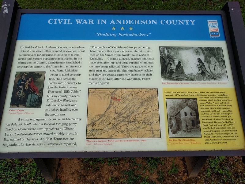 Civil War in Anderson County Marker image. Click for full size.