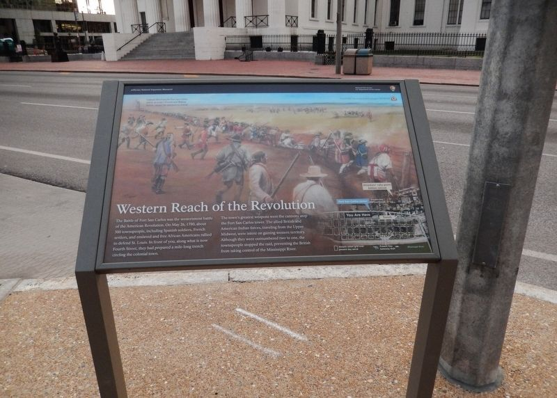 Western Reach of the Revolution Marker (<i>wide view; 4th Street & courthouse in background</i>) image. Click for full size.