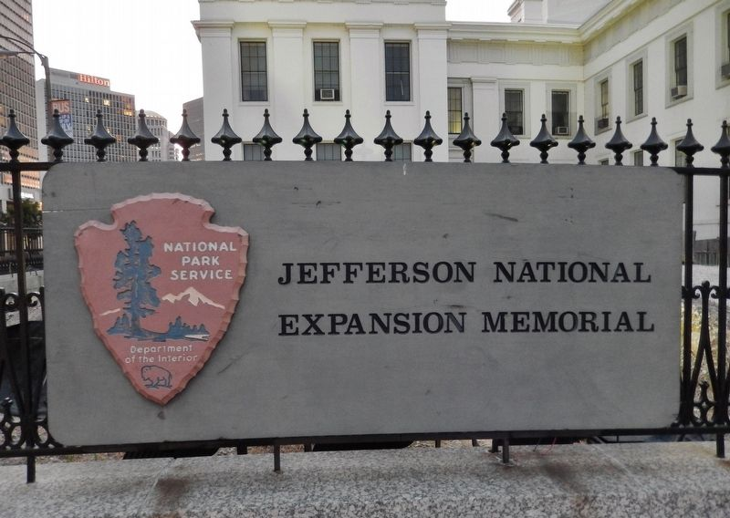 Jefferson National Expansion Memorial Sign (<i>near marker</i>) image. Click for full size.