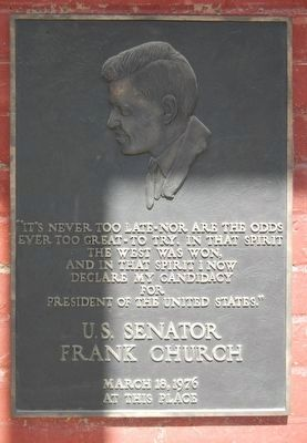 U.S. Senator Frank Church Marker image. Click for full size.