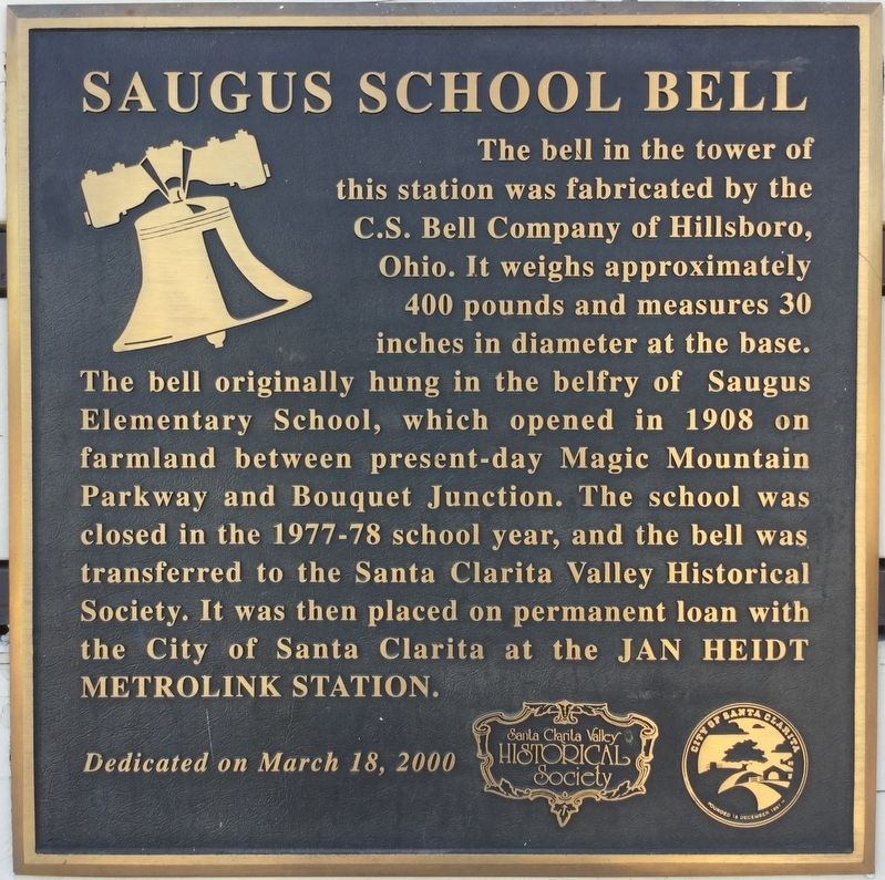 Saugus School Bell Marker image. Click for full size.