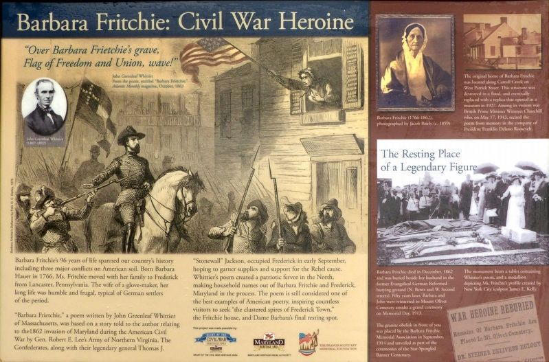 Barbara Fritchie: Civil War Heroine Marker image. Click for full size.