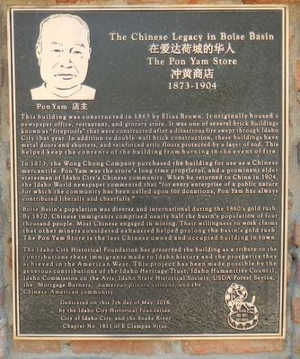 The Chinese Legacy in Boise Basin Marker image. Click for full size.