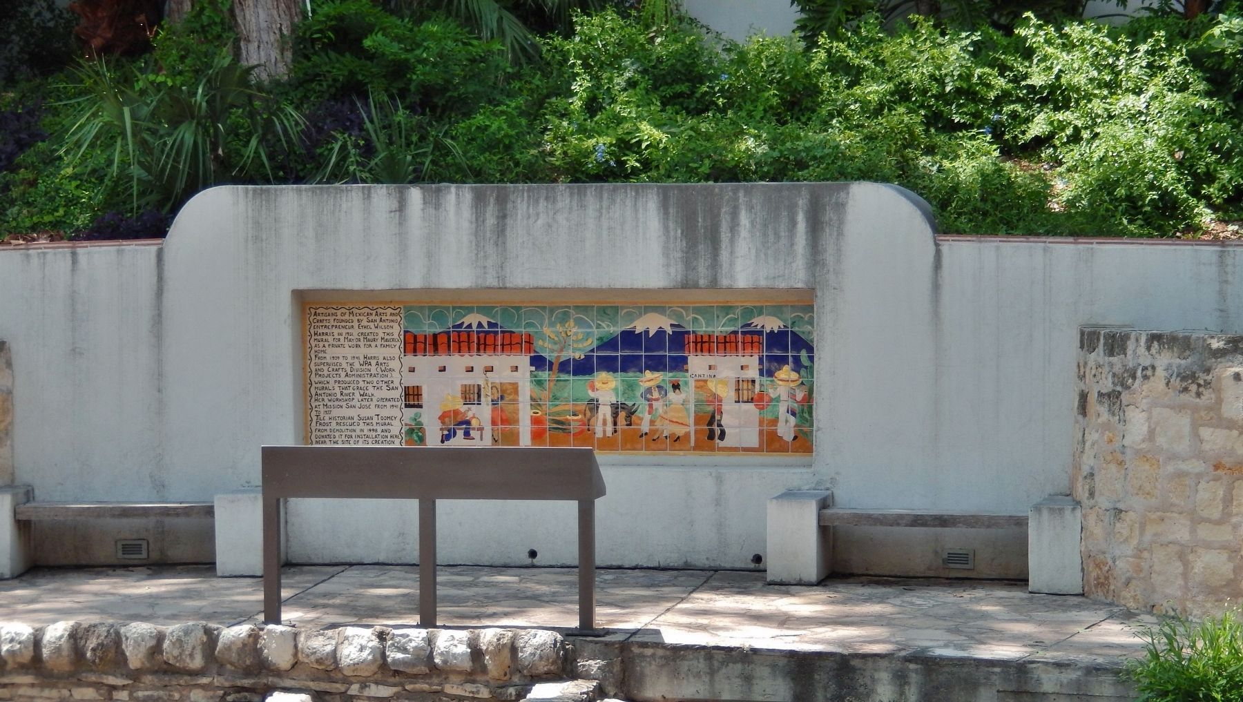 Mayor Maury Maverick Mural (<i>view across Hugman Dam from south side of San Antonio River</i>) image. Click for full size.