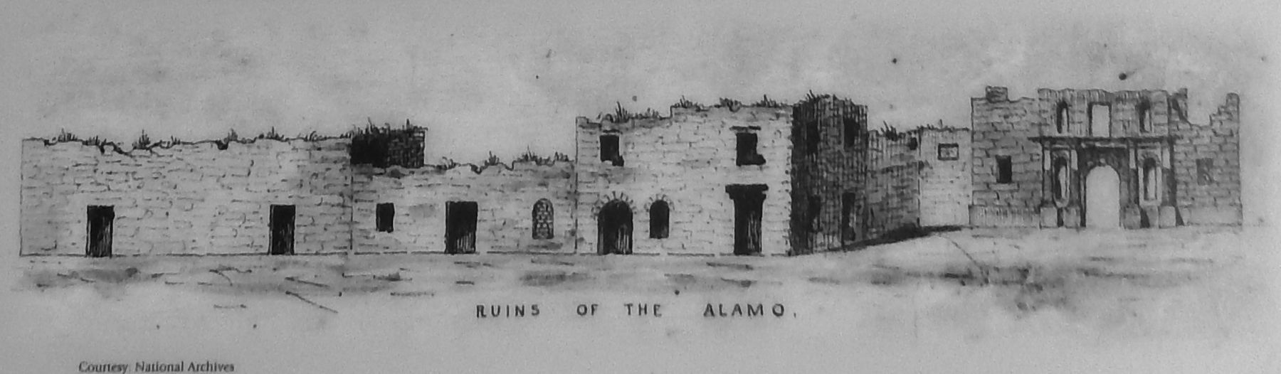 Marker detail: Alamo as it appeared in 1845 image. Click for full size.