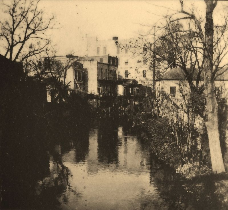 Marker detail: San Antonio River, late 1800's image. Click for full size.