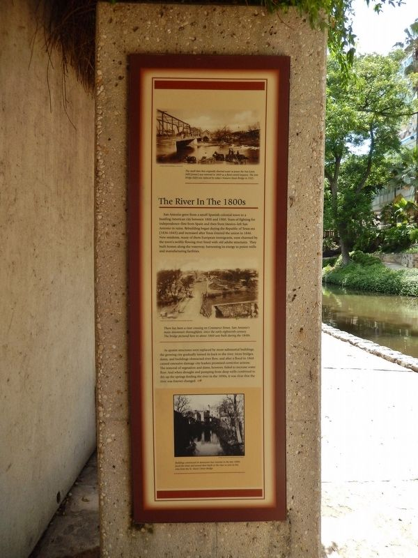 The River in the 1800's Marker (<i>wide view; San Antonio River in background</i>) image. Click for full size.