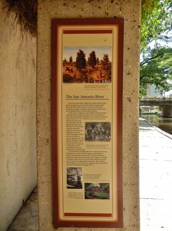 The San Antonio River Marker (<i>wide view; Lexington Avenue bridge in background</i>) image. Click for full size.