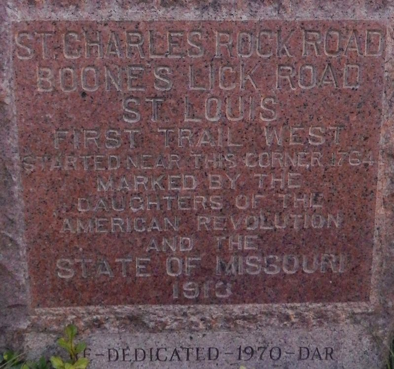 St. Charles Rock Road Marker image. Click for full size.