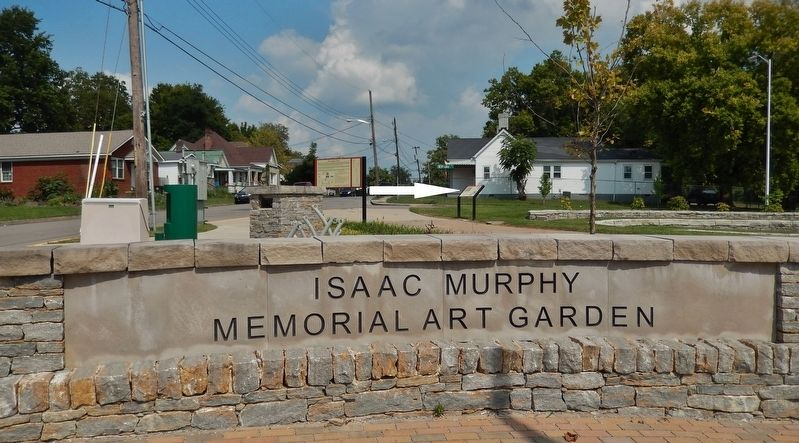 Isaac Murphy Memorial Art Garden Sign (<i>marker visible beyond sign at center</i>) image. Click for full size.