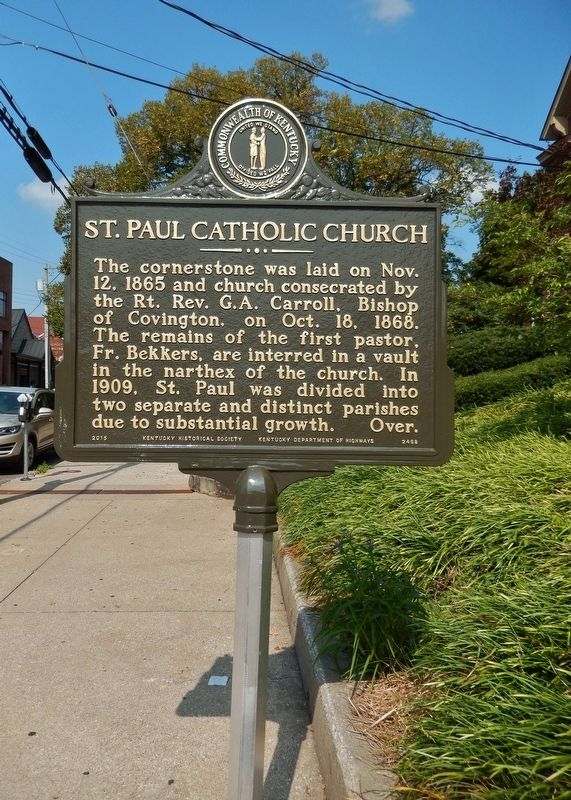 St. Paul Catholic Church Marker (<i>tall view</i>) image. Click for full size.