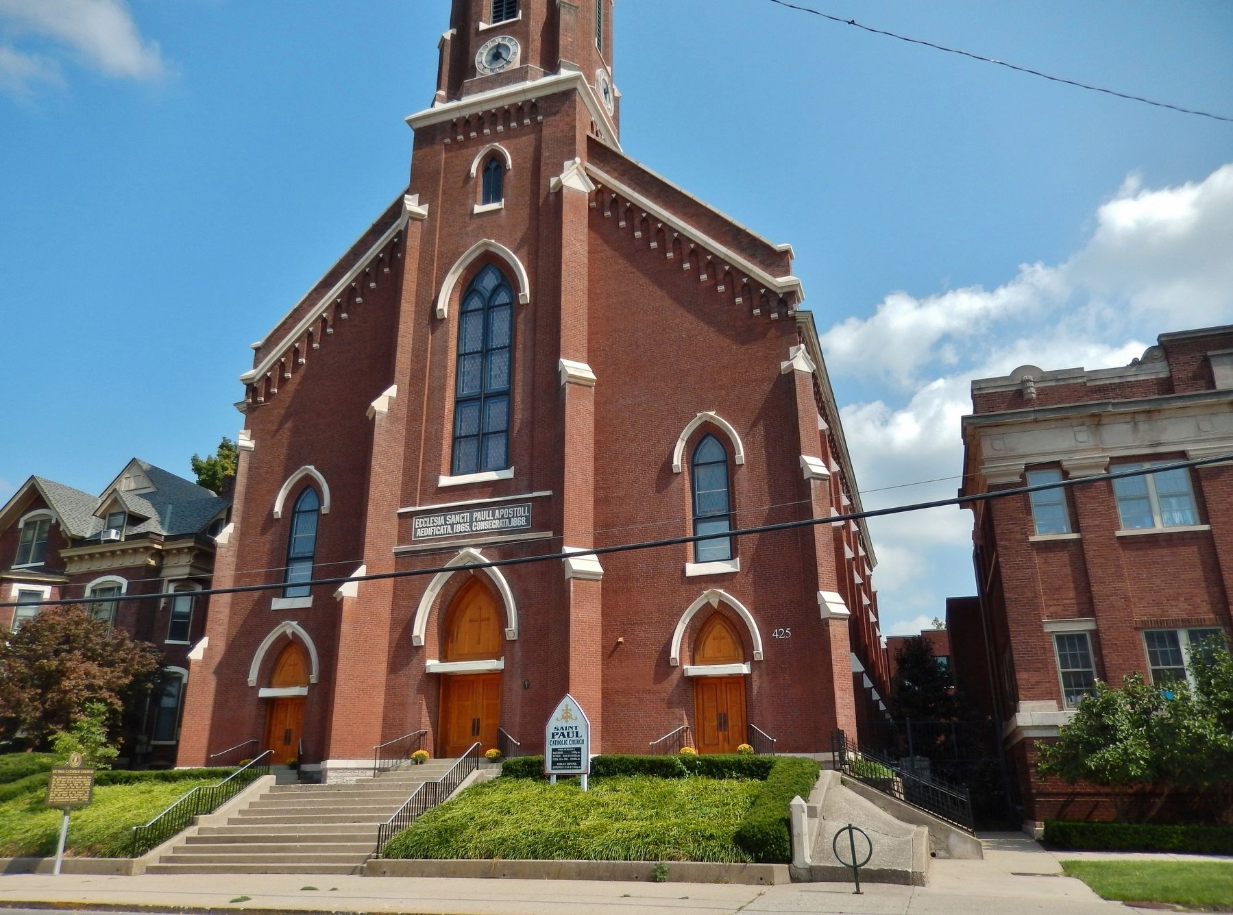 St. Paul Catholic Church (<i>wide view; marker visible beside staircase at left</i>) image. Click for full size.