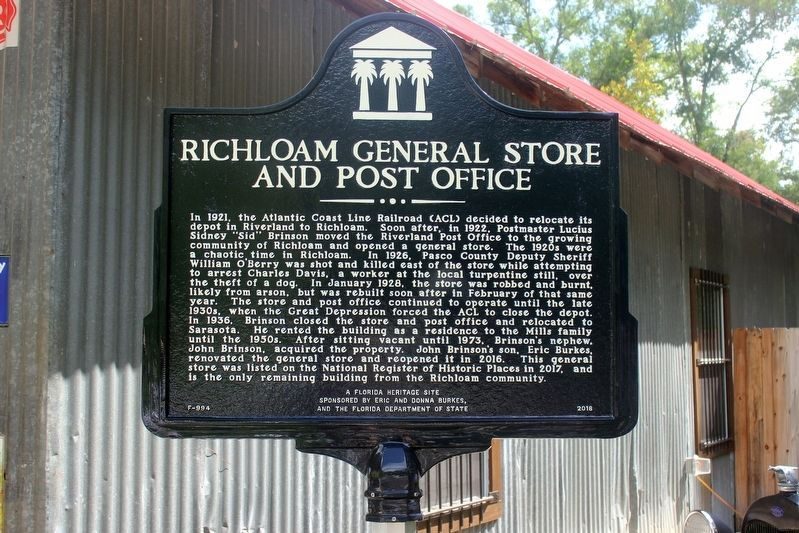 Richloam General Store and Post Office Marker image. Click for full size.