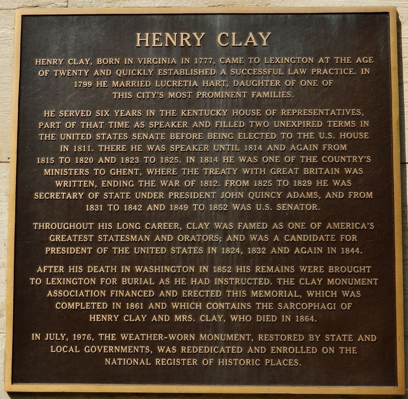 Henry Clay Marker image. Click for full size.