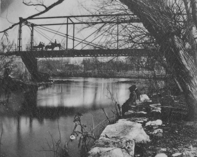 Marker detail: San Antonio River at Houston Street, c. 1870 image. Click for full size.