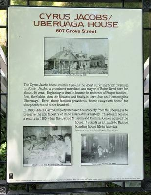 Cyrus Jacobs/Uberuaga House Marker image. Click for full size.
