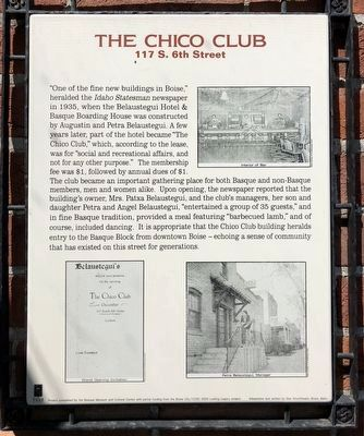 The Chico Club Marker image. Click for full size.