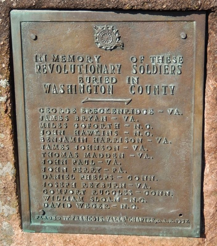 In Memory of Revolutionary Soldiers Buried in Washington County Marker image. Click for full size.