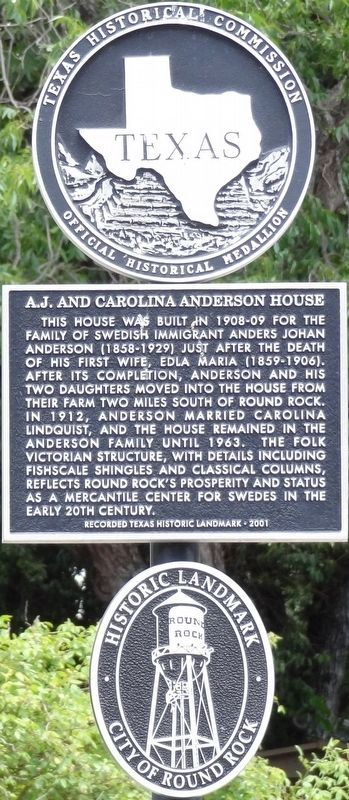 A. J. and Carolina Anderson House Marker image. Click for full size.