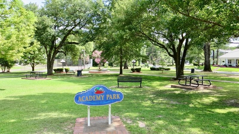 Academy Park Marker can be seen in far distance past the fountain. image, Touch for more information