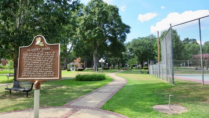 Academy Park and marker. image. Click for full size.