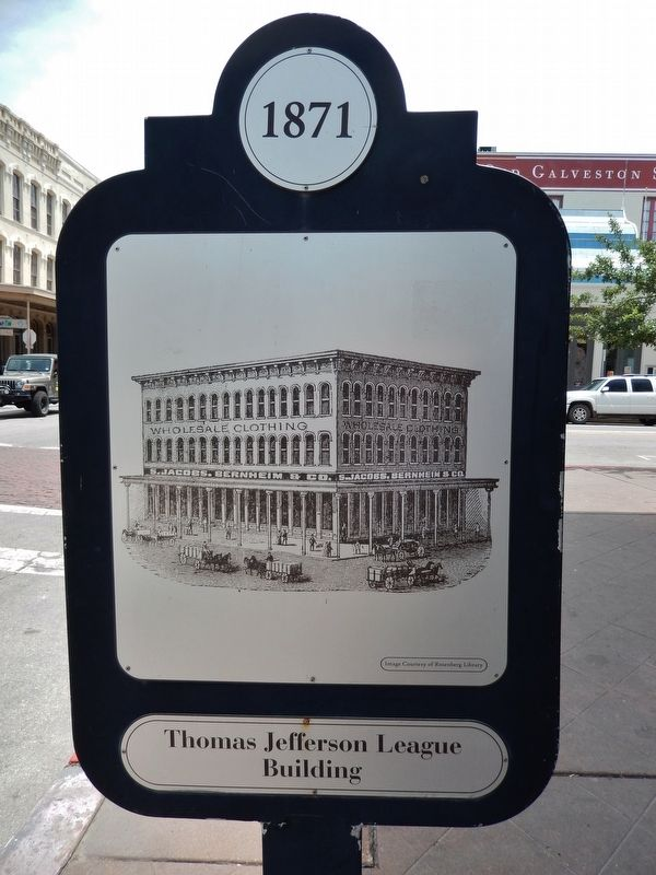 Thomas Jefferson League Building Marker (<i>side two</i>) image. Click for full size.