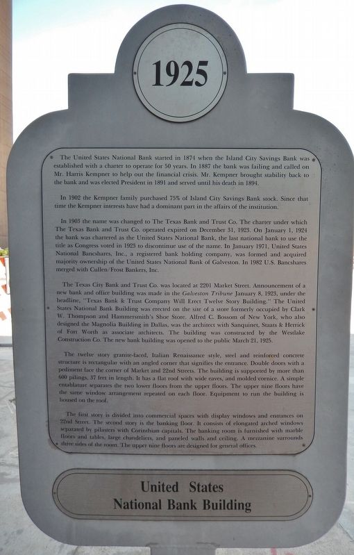 United States National Bank Building Marker image. Click for full size.