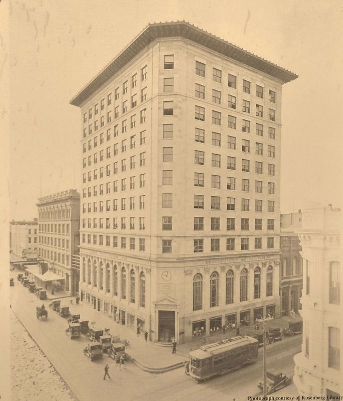 Marker (<i>side two</i>) detail: Historic Photo of U.S. National Bank Building image. Click for full size.