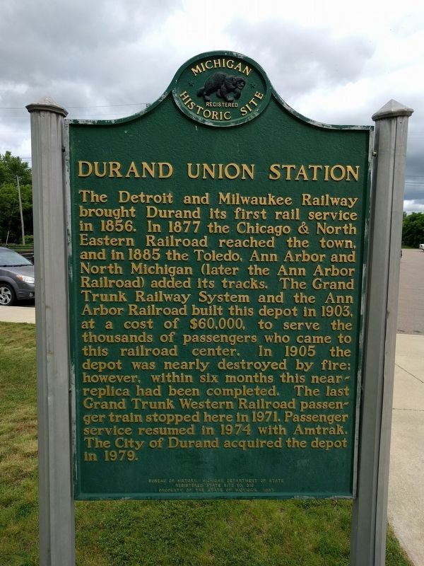 Durand Union Station Marker — Side 1 image. Click for full size.