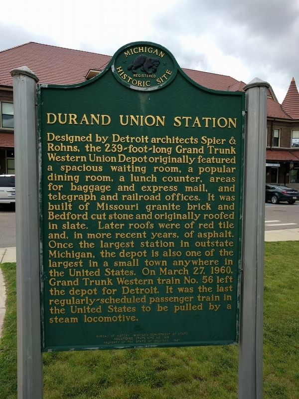 Durand Union Station Marker — Side 2 image. Click for full size.