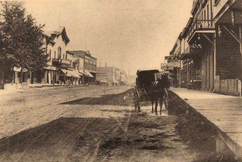 Marker detail: Looking east on Phoenix Street from Kalamazoo Street c. 1898 image. Click for full size.