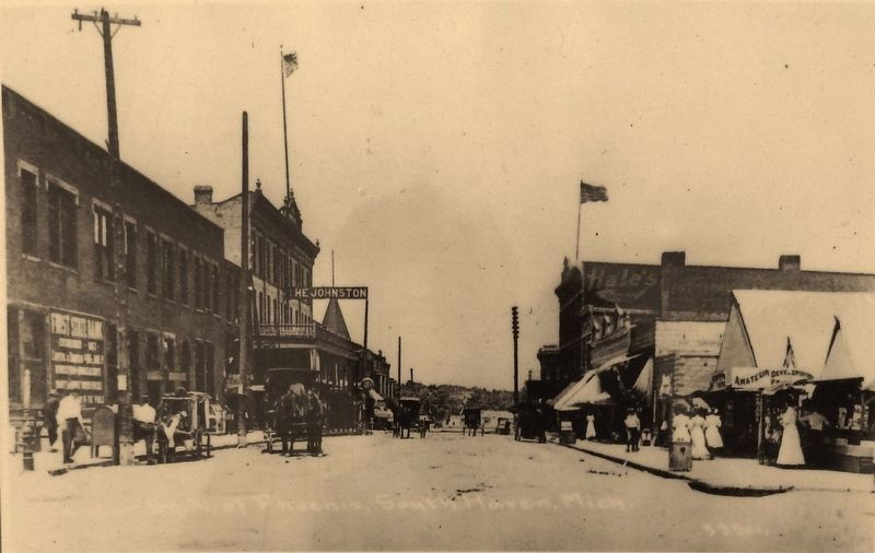 Marker detail: Center Street looking north from Phoenix Street in 1906 image. Click for full size.