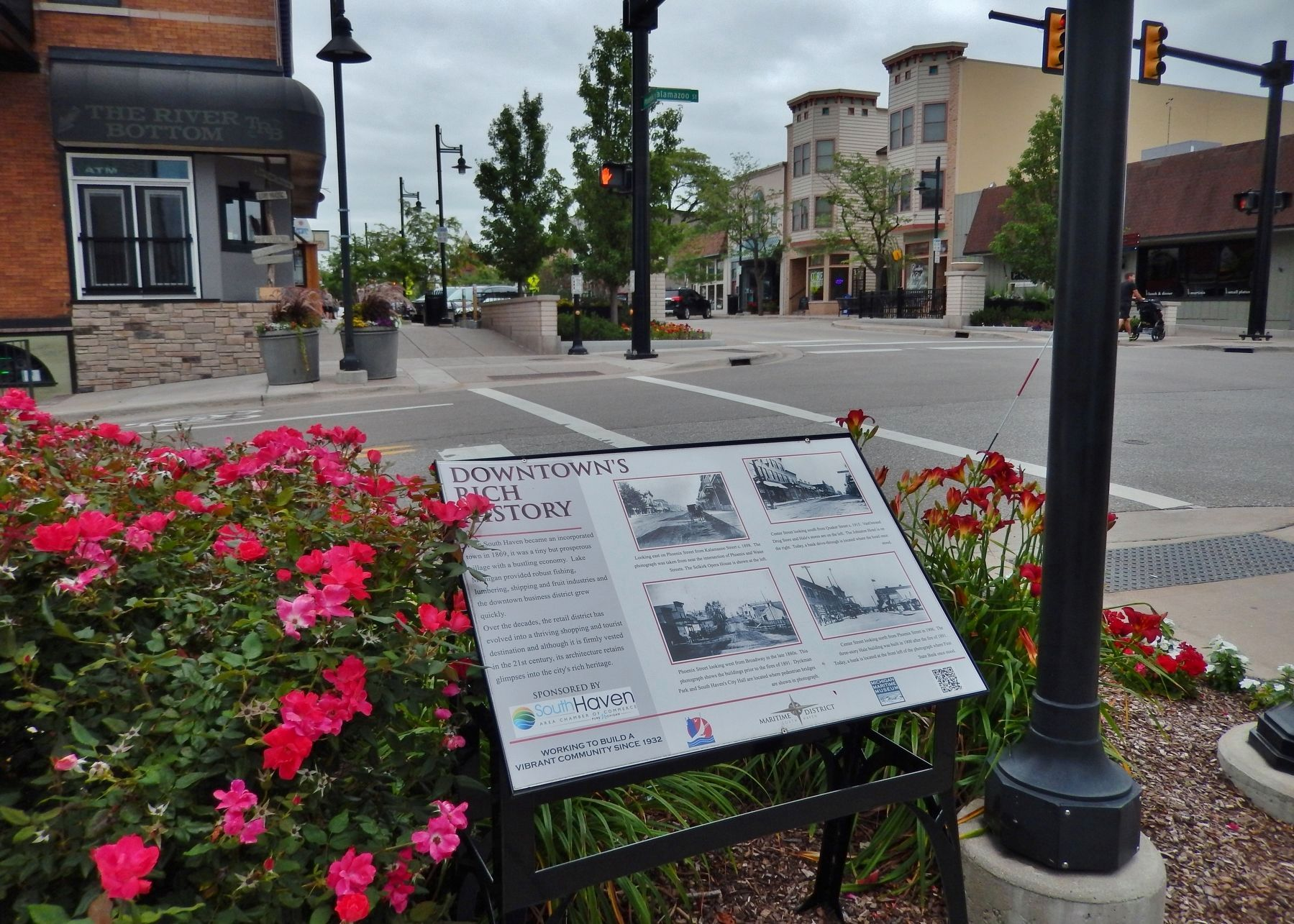 Downtown&#39;s Rich History Marker (<i>wide view; looking east on Phoenix Street from Kalamazoo</i>) image. Click for full size.
