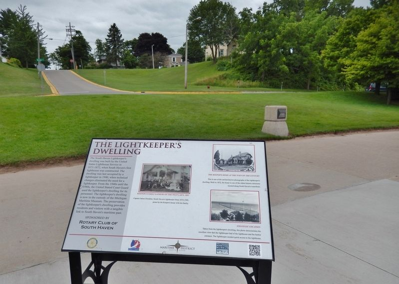 The Lightkeeper's Dwelling Marker (<i>wide view; looking up St. Joseph Street to Keeper's House</i>) image. Click for full size.
