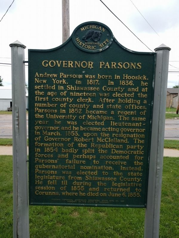 Governor Parsons Marker image. Click for full size.