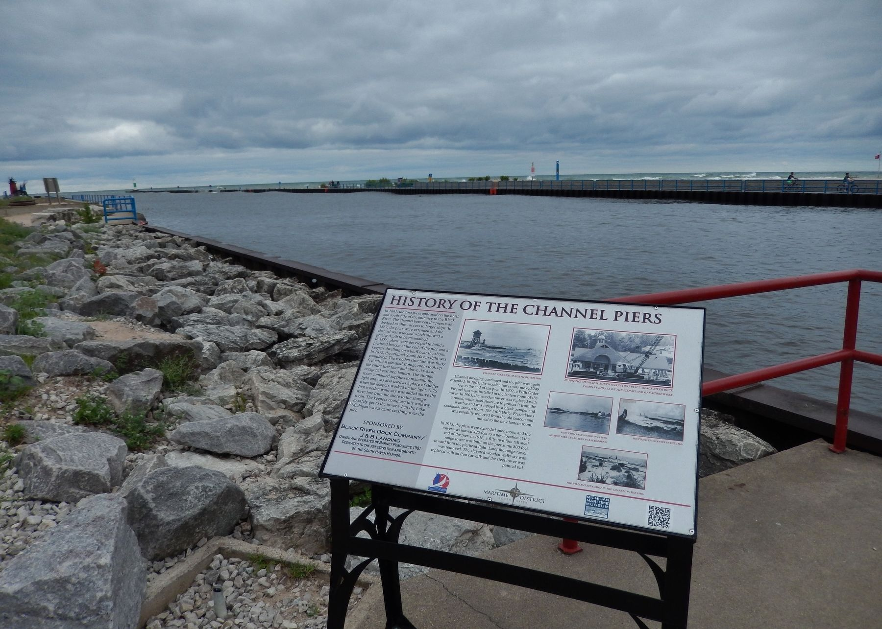 History of the Channel Piers Marker (<i>wide view; overlooking the Black River channel</i>) image. Click for full size.