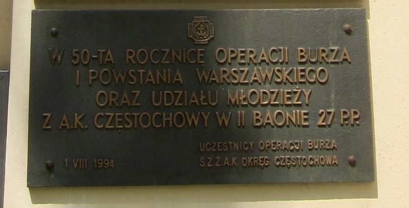 "Akcja ""Burza"" i Powstania Warsawskiego Pomnik / Operation Tempest and Warsaw Uprising Memorial Marker image. Click for full size."
