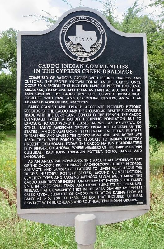 Caddo Indian Communities in the Cypress Creek Drainage Marker image. Click for full size.