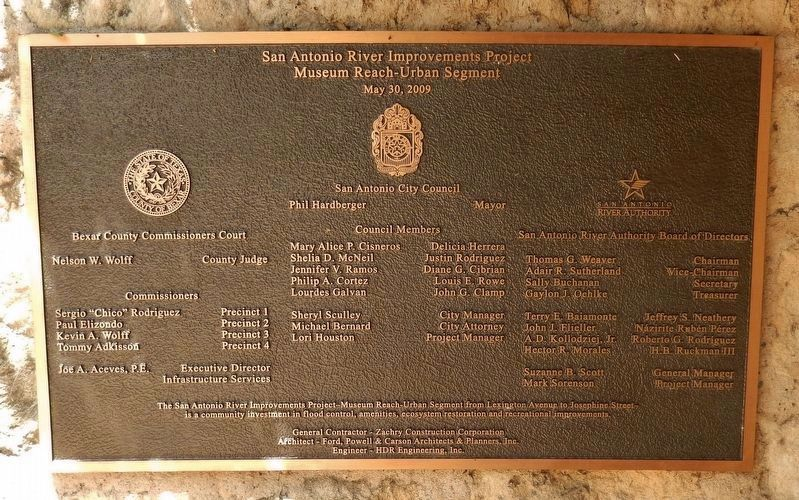 San Antonio River Improvement Project Plaque (<i>located near marker</i>) image. Click for full size.