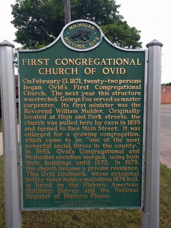Village of Ovid / First Congregational Church of Ovid Marker image. Click for full size.